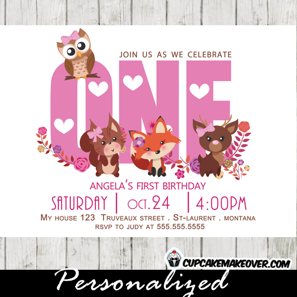 Woodland First Birthday Invitations Girl Pink Forest Friends Personalized