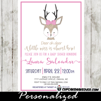girl pink reindeer antlers deer baby shower invitations hand drawn