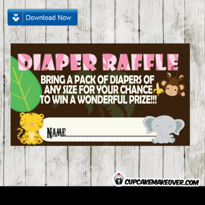 animal print pink safari themed diaper raffle tickets baby girl