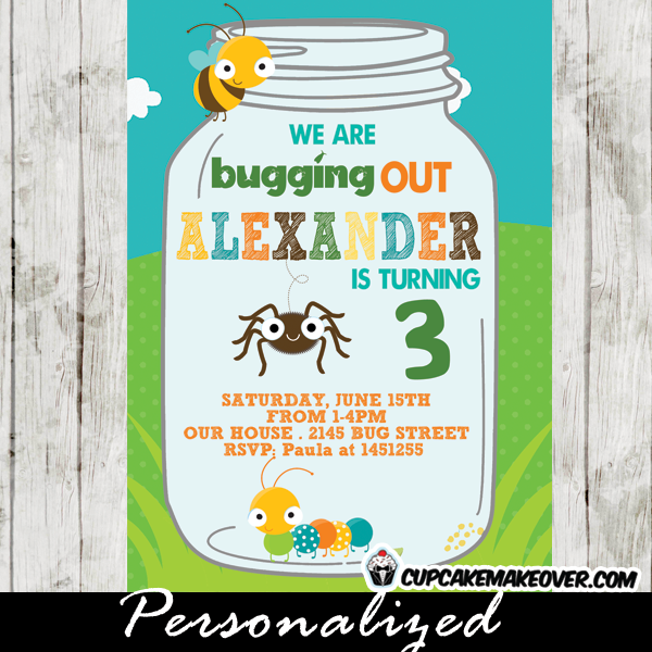 Insects birthday invitations garden bugs jar cupcakemakeover bugs party invitations caterpillar spider bee insects birthday filmwisefo