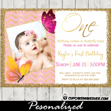 Butterfly 1st Birthday Photo Invitations Pink Gold Foil Chevron