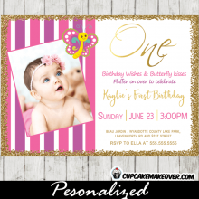 first 1st 2nd butterfly birthday invitations party pink purple stripes gold glitter photo girls