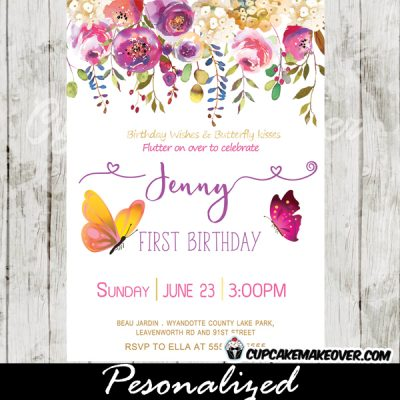 pink purple floral garden first 1st 2nd butterfly birthday invitations party girls
