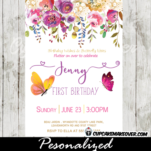Butterfly birthday invitations purple teal blue clouds butterfly birthday invitations pink purple garden flowers stopboris Images