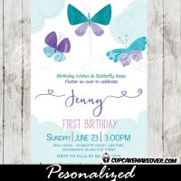 teal blue purple first 1st 2nd butterfly birthday invitations party girls