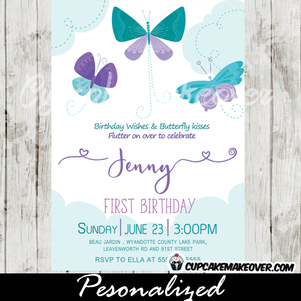 Butterfly Birthday Invitations Purple Teal Blue Clouds - 1st birthday invitations girl purple