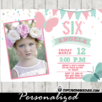 butterfly birthday party invitations party pink mint green photo girls confetti