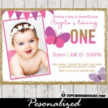 Butterfly Birthday Photo Invitations Gold Glitter Pink Purple Bunting