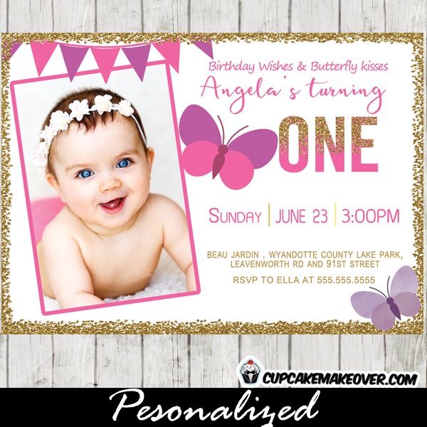 First 1st 2nd Butterfly Birthday Invitations Party Pink Purple Bunting Gold Glitter Photo Girls