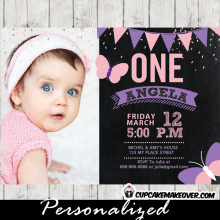 first 1st 2nd butterfly birthday invitations party pink purple bunting confetti photo girls