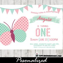 Butterfly Birthday Invitations Pink Mint Green Bunting