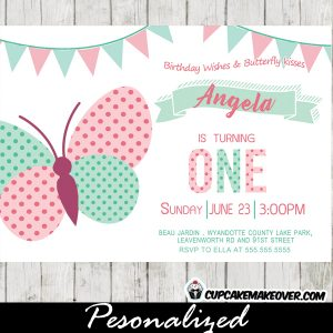 pink mint green bunting first 1st 2nd butterfly birthday invitations party girls