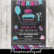 pink blue purple bunting sweet shoppe candyland birthday invitations ice cream cake cupcakes