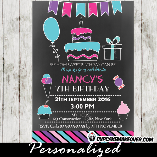 pink blue purple bunting sweet shoppe candyland birthday invitations ice cream cake cupcakes