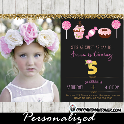 candyland birthday invitations sweet shop photo girls pink and black