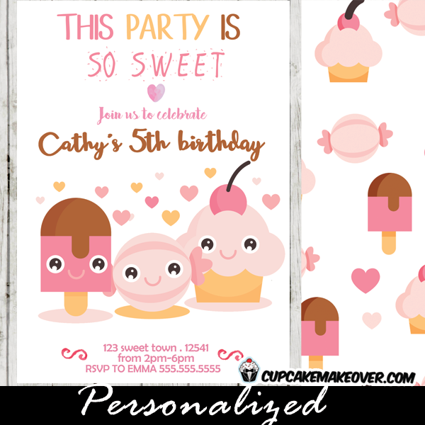 adorable fun cute girls pink white sweet shoppe candyland birthday invitations ice cream cupcakes