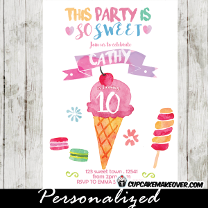 watercolor hand drawn sweet shoppe candyland birthday invitations ice cream macarons lollipop