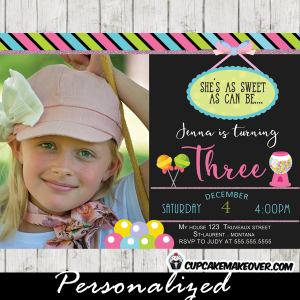 candyland birthday party sweet shoppe invitations photo girls pink blue green