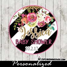 flower garden thank you tags for baby shower birthday party black and white striped cupcake toppers gold