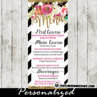 black and white striped flower garden baby shower menu cards table food ideas