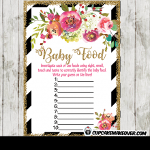 spring floral garden baby shower games black white stripes gold glitter girls