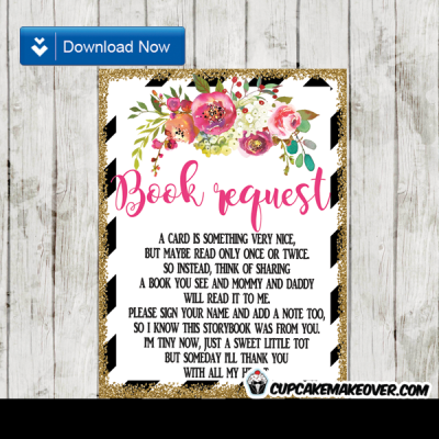 flower garden floral book request black and white stripes gold glitter invitation insert