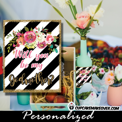 spring flowers black and white striped floral favor labels and tags gold