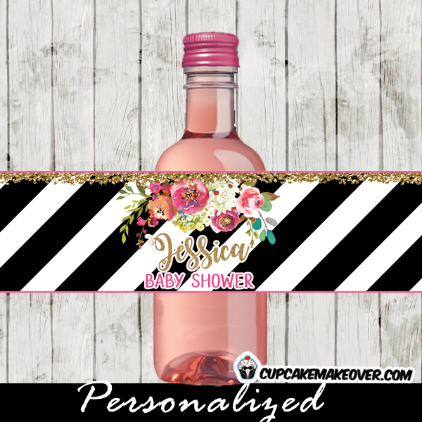 floral black and white striped water bottle labels  gold