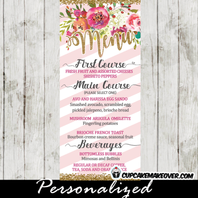 pink and white striped flower garden baby shower menu cards table food ideas