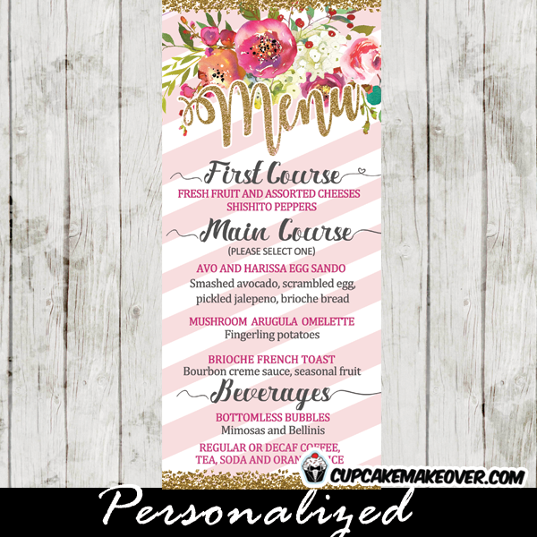 Floral baby shower food menu pink stripes gold glitter pink and white striped flower garden baby shower menu cards table food ideas mightylinksfo Choice Image