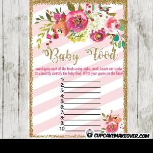 floral garden baby shower games pink white stripes gold glitter girls