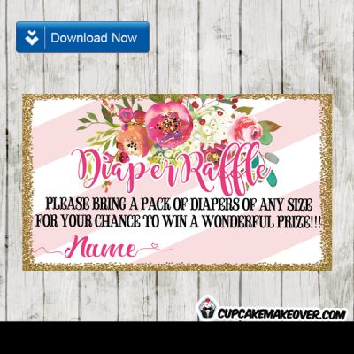 gold purple pink floral watercolor diaper raffle tickets