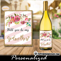 spring flowers square floral favor labels and tags pink gold