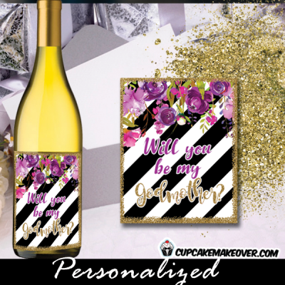 pink lavender plum purple spring flowers black and white striped floral favor labels and tags gold sprinkle