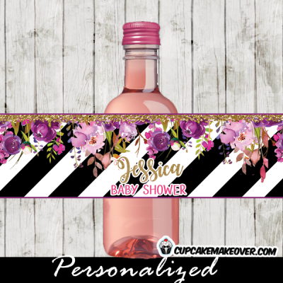 pink lavender plum purple flower garden floral water bottle labels wrappers personalized black and white stripes gold