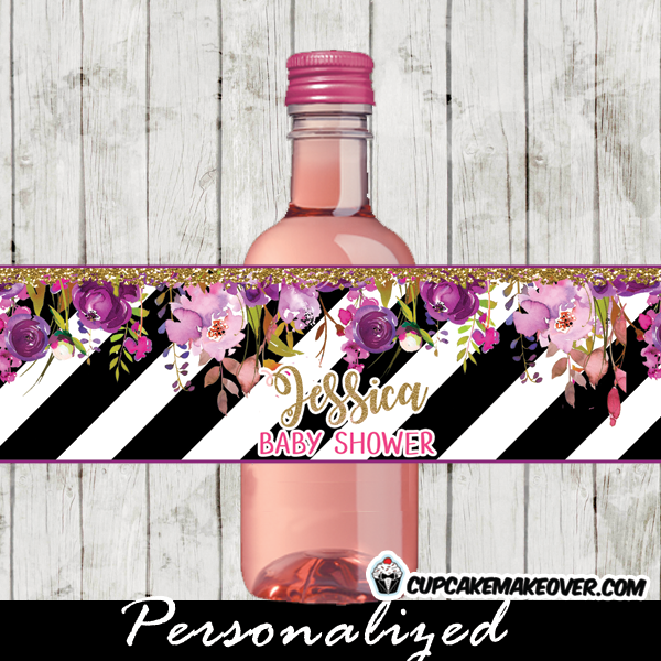 Purple Floral Black And White Striped Water Bottle Labels