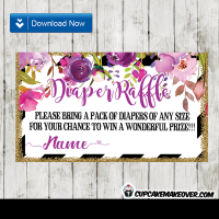 watercolor purple lavender pink floral diaper raffle tickets sprinkle gold