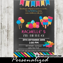 chalkboard sweet shoppe candyland birthday invitations ice cream bars lollipops