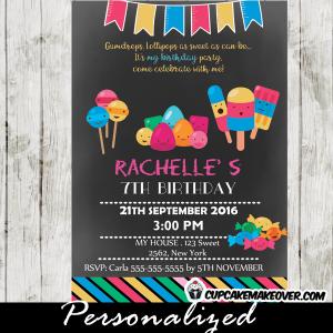 chalkboard sweet shoppe candyland birthday invitations ice cream bars lollipops