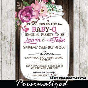 pink purple floral mason jar bbq invitations baby shower country wood bridal bbq