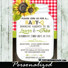 mason jar bbq invitations baby shower country gingham wood bridal bbq