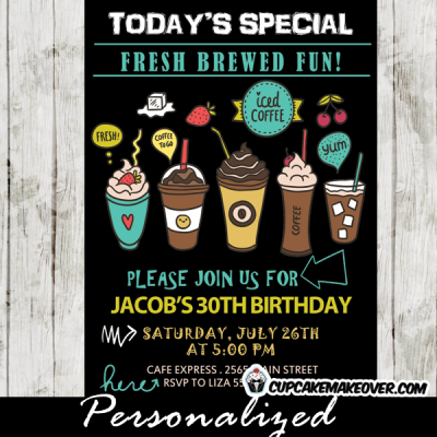 Starbucks coffee invitations ice cream birthday party iced mocha latte cream milk
