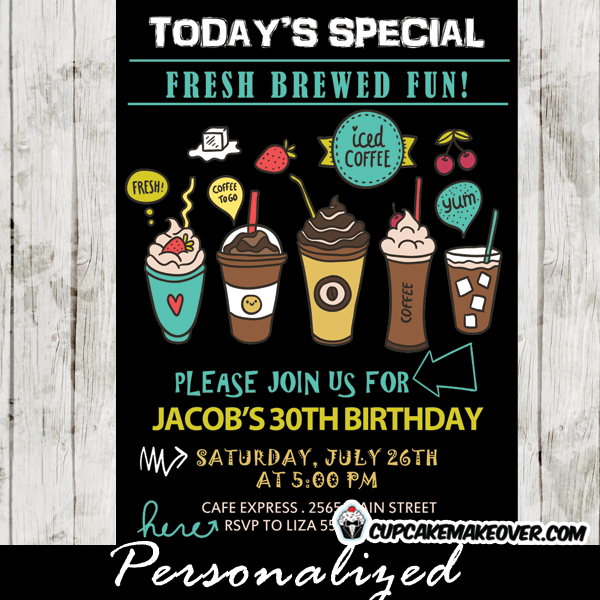 Iced Coffee Party Invitations Mocha Latte Frappucino
