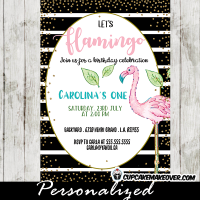 black and white striped pink flamingo party invitations gold sprinkle bridal baby shower