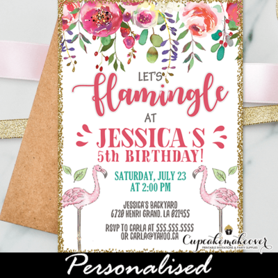 flamingo birthday invitations coral pink gold glitter garden flowers party ideas