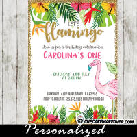 pink flamingo first birthday invitations tropical luau floral gold glitter