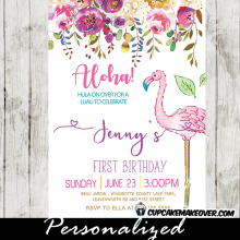 first birthday flamingo party invitations pink purple summer garden flowers spring