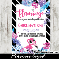 tropical luau black and white striped pink flamingo first birthday invitations gold sprinkle bridal baby shower