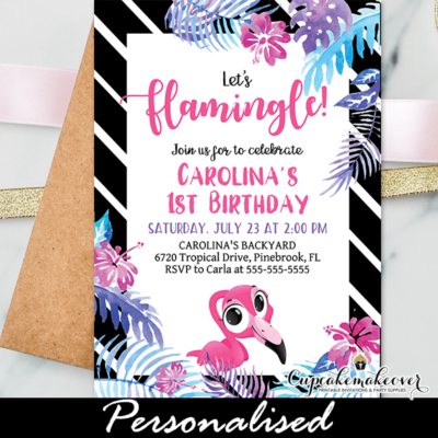 tropical luau black and white striped pink flamingo first birthday invitations lets flamingle