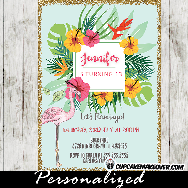 flamingo party invitations pastel tropical floral gold glitter